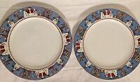 Sakura Debbie Mumm Snowman 11 Inch Christmas Dinner Plates Set of 2 MINT COND