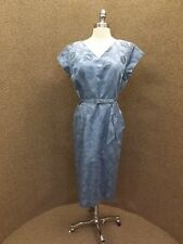 NOS NWT Vtg 1950s Embroidered Floral SLATE BLUE COCKTAIL DRESS Sz 18.5 Jackie O