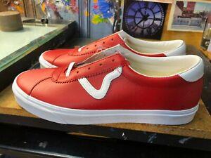 Vans Sport Leather Racing Red True White Size US 12 Men's New Rare Skateboarding
