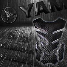 "4PCs Perforated Black Fuel Tank Pad+8"" 3D Logo+Letter Emblem Sticker for Yamaha"