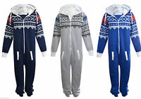 Unisex Mens Plain Aztec 1Onesie Zip Up All In One Hooded Jumpsuit Sizes S-5XL
