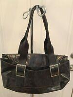 Kenneth Cole Black Leather Handbag/Purse New York w/ Shoulder Strap