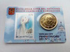 Coin card vatican 0,50 euro cents  ( fdc bu kms) année 2011 avec timbre numéro 1