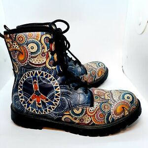 Ladies Boots Sz 8.5/9 Eur 40 Peace Sign Paisley Abstract Funky Boho Hippie Motor