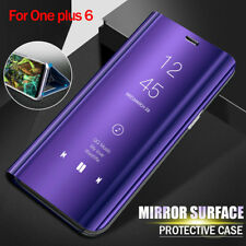 For Oneplus 6 Leather Bag Flip Clear View Mirror Stand Smart Case 360 Full Cover