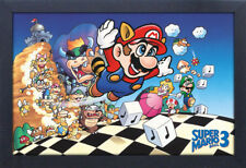 SUPER MARIO BROS 3 VIDEO GAME 13x19 FRAMED GELCOAT POSTER SUPER NINTENDO SNES!!!
