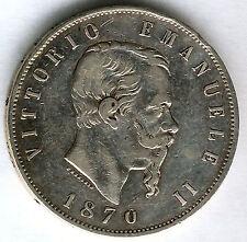 Italia 5 Liras 1870 M Emanuel II plata @ Bella @