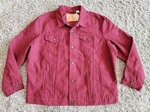 NEW Levis Men's Trucker Jacket Denim Cotton Button Front Burgundy Size 3XL XXXL