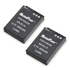 2x Refuelergy BATTERIES for NIKON EN-EL12 Camera Coolpix S1200PJ AW100 950mAh