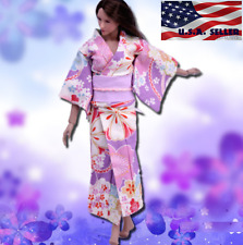 "1/6 Women Kimono Dress Japanese PINKFor 12"" Phicen Hot Toys Female Figure USA"
