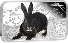 2011 Cook Islands $1 YEAR OF THE RABBIT Black Rabbit 1 Oz Silver Rectangle Coin