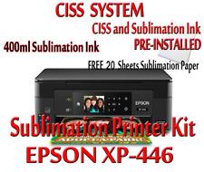Epson XP-446 Sublimatio printer bundle,CISS Kit,sublimation ink & sub paper