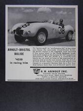 1959 Arnolt-Bristol Bolide Roadster racing trim car photo vintage print Ad