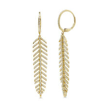 14K Yellow Gold Diamond Feather Earrings Natural Round Cut Flexible Drop Dangle