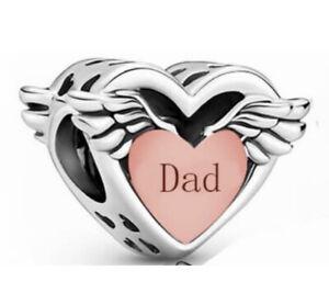 DAD MEMORIAL CHARM ANGEL WINGS GENUINE 925 STERLING SILVER ROSE GOLD pl 💜💛💜