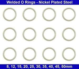 Welded  O Rings - 8, 12, 15, 20, 25, 30, 35, 40, 45, 50mm - Nickel Plated Steel