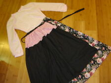 Victorian Prairie pink blouse black print skirt apron sz M L
