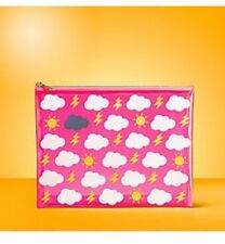 M&S Bright Pink PVC Make Up Bag with Cloud/Sun/Lightning Design