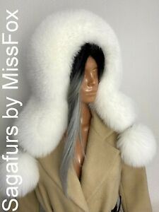 Shadow  Blue Fox huge full fur eskimo hat sagafurs with pmpons