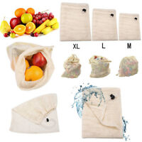 Reusable Cotton Mesh Produce Bags Grocery Fruit Storage Shopping String Bag