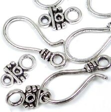 20 pcs / 10 sets Antique Silver Pewter Hook Eye Clasps