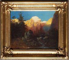 Josef Thoma, Sonnenaufgang im Gebirge, Öl auf Leinen, Prunkrahmen