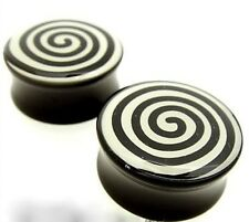 PAIR 4G 5MM SPIRAL ACRYLIC DOUBLE FLARED PLUGS PLUG