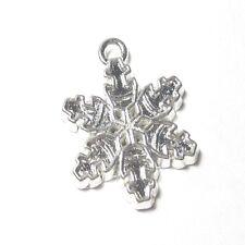 5 pieces 17x22mm Flocon de Neige en Alliage de Zinc émail charme Pendentifs-Argent-a0866