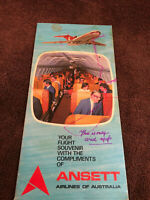 VTG Ansett Airlines of Australia Flight Information Souvenir Folded Brochure Map