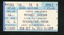 Original Michael Jackson 1988 Bad Tour Concert Ticket Stub Meadowlands Arena NJ