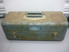 """Vintage Blue Old Pal 19"""" Metal Tackle Box Double Tray Preowned"""