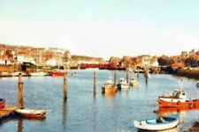 PHOTO  YORKSHIRE LOOKING DOWN THE RIVER ESK AT WHITBY IN 1984 TAKEN FROM THE BAN