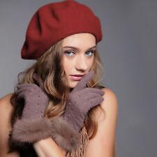 Plain Beret Hat Wool French Beret Winter Autumn Beanie Women Girls Fashion Hats