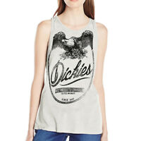 DICKIES GIRL Junior's Plunging Back Neckline Tank Top - Ivory, Navy, Black, Red