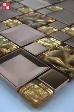Glasmosaik Edelstahl Mosaik Mosaikfliesen fliesenmosaik Mosaike Flash Braun Gold