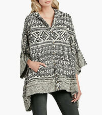 LUCKY BRAND $99 NEW Womens 1039 Multi Hood Button Front Poncho Sweater One Size