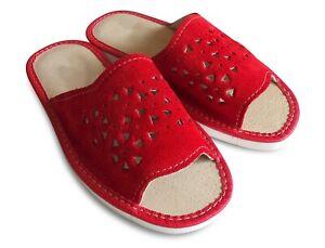 Damen Veloursleder Sommer Hausschuhe Pantoffeln Pantoletten Rot  Gr.37-41