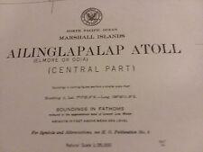 Antique Vintage US Navy Nautical Chart Aeronautical Map  Ailinglapalap Atoll (B)