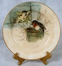 Antique Doulton Burslem Artist Georges Leonce J Slater? Cat/Bird Cabinet Plate