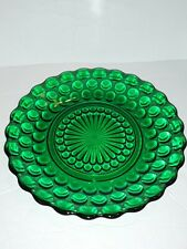 Vintage EMERALD FOREST GREEN HOBNAIL SCALLOPED EDGE DESERT PLATE 6.5""