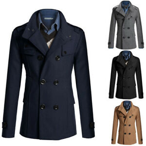 Winter Men Pea Coat Double Breasted Wool Jacket Classic Trench Reefer warm navy