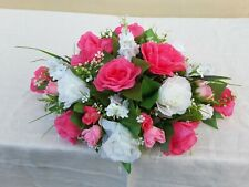 Pink and ivory flower arrangement, wedding top table, roses, room decor