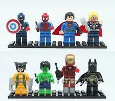 New 8 pcs Super Heroes Custom Mini Figures Wolverine Thor Batman Custom Lego