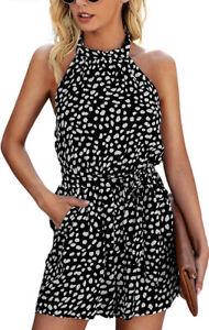 Women's Large Romper - Summer Floral Ruffle Halter Neck Sleeveless Elastic