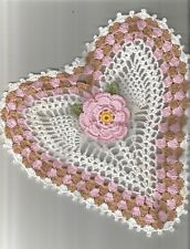 """1 Heart Lace Doily Orchid Pink and Copper Mist Yellow, White  9"""" x 9 1/2"""""""