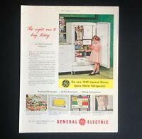 1949 General Electric Refrigerator Advertisement Space Maker MCM Vtg Print AD
