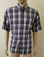 Trader Bay Mens Button Down Shirt, Short Sleeve, Size XL Plaid 100% Cotton