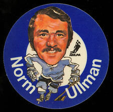 1973-74 MAC'S MILK NHL NORM ULLMAN MAPLE LEAFS NM CLOTH STICKER HOCKEY DISC CARD