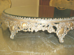 """18C HARD TO FIND LRG 16"""" FRENCH ANTIQUE GILT BRONZE FOOTED MIRROR PLATEAU TRAY"""