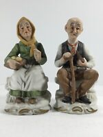 "Set Of Vintage Figures- Elderly Couple Sitting Pair #22 - 6.5"" Tall"